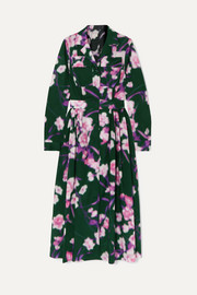 Dries Van Noten Pleated floral-print cotton-poplin midi dress
