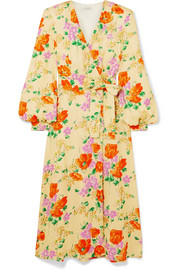 Floral-jacquard wrap dress