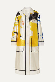Oversized printed cotton and silk-blend coat