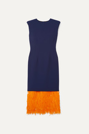 Dries Van Noten Feather-trimmed cady midi dress