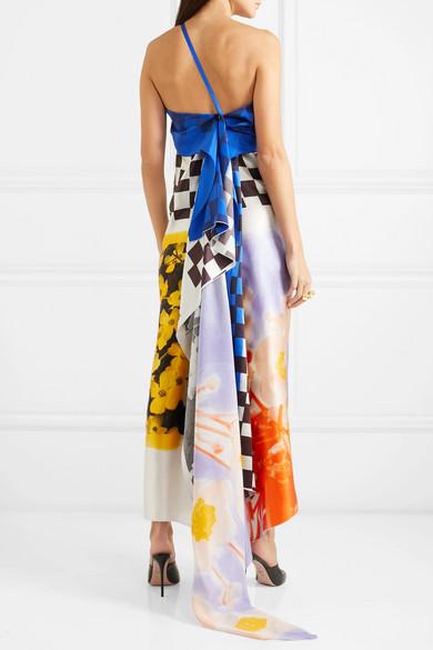 Dries Van Noten Dress One-shoulder printed silk gown