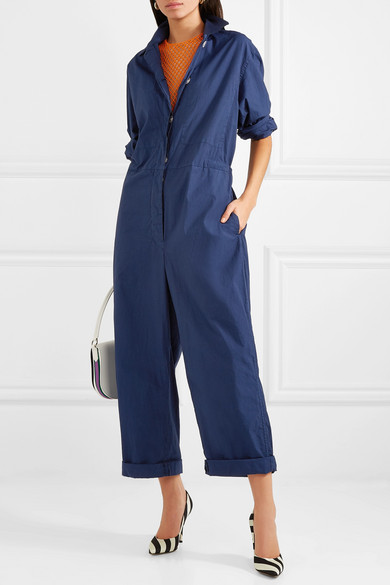 Dries Van Noten Suits Cotton-blend poplin jumpsuit