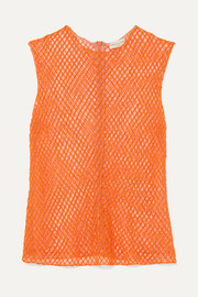 Dries Van Noten Bead-embellished mesh top