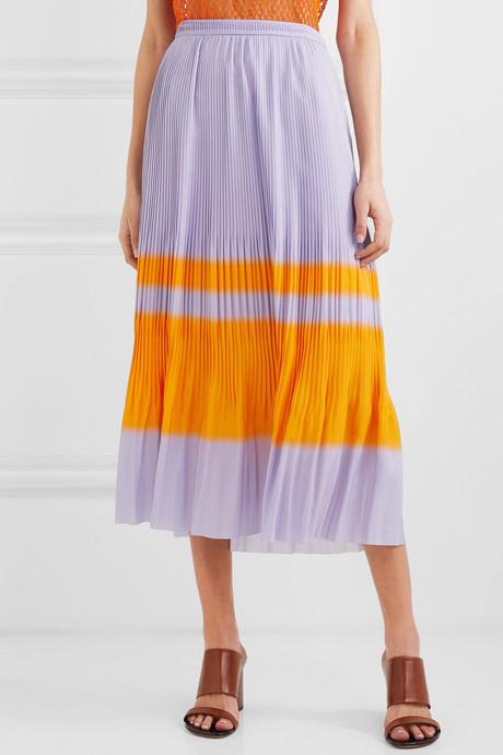 Striped pleated crepe midi skirt