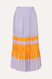 Dries Van Noten Striped pleated crepe midi skirt
