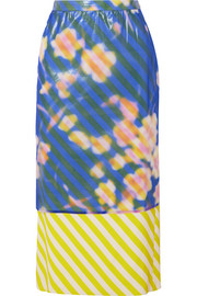 Layered floral-print crinkled-organza and striped satin midi skirt