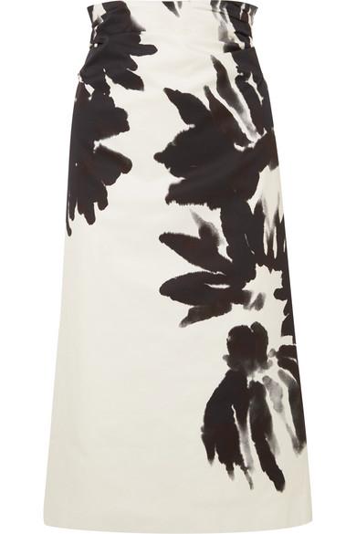 63147485a0 Dries Van Noten | Ruched floral-print cotton-twill midi skirt | NET ...
