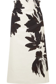 Ruched floral-print cotton-twill midi skirt