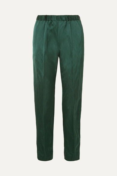 Dries Van Noten Pants Crinkled-satin slim-leg pants