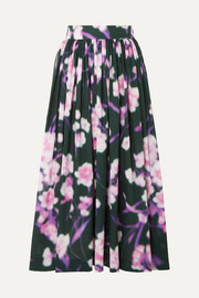 Floral-print cotton-poplin midi skirt