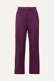 Cotton-blend satin straight-leg pants