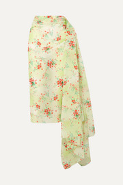 Draped floral-print taffeta skirt