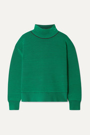 + NET SUSTAIN striped ribbed organic cotton turtleneck sweater