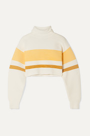 + NET SUSTAIN cropped striped ribbed organic cotton turtleneck sweater