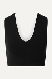 + The Woolmark Company cropped two-tone technical stretch-knit top