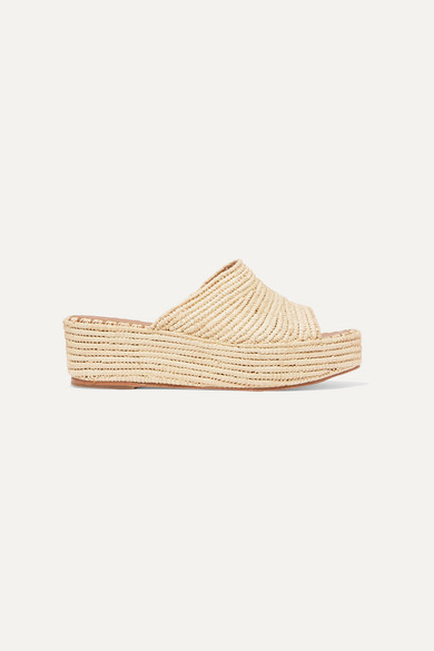 CARRIE FORBES | Carrie Forbes - Karim Woven Raffia Wedge Sandals - Beige | Goxip