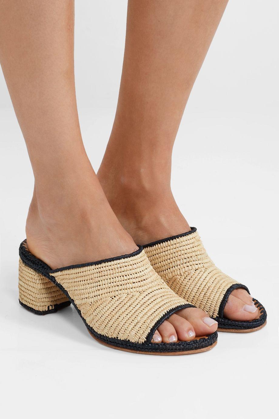 Carrie Forbes Rama 双色编织拉菲草穆勒鞋