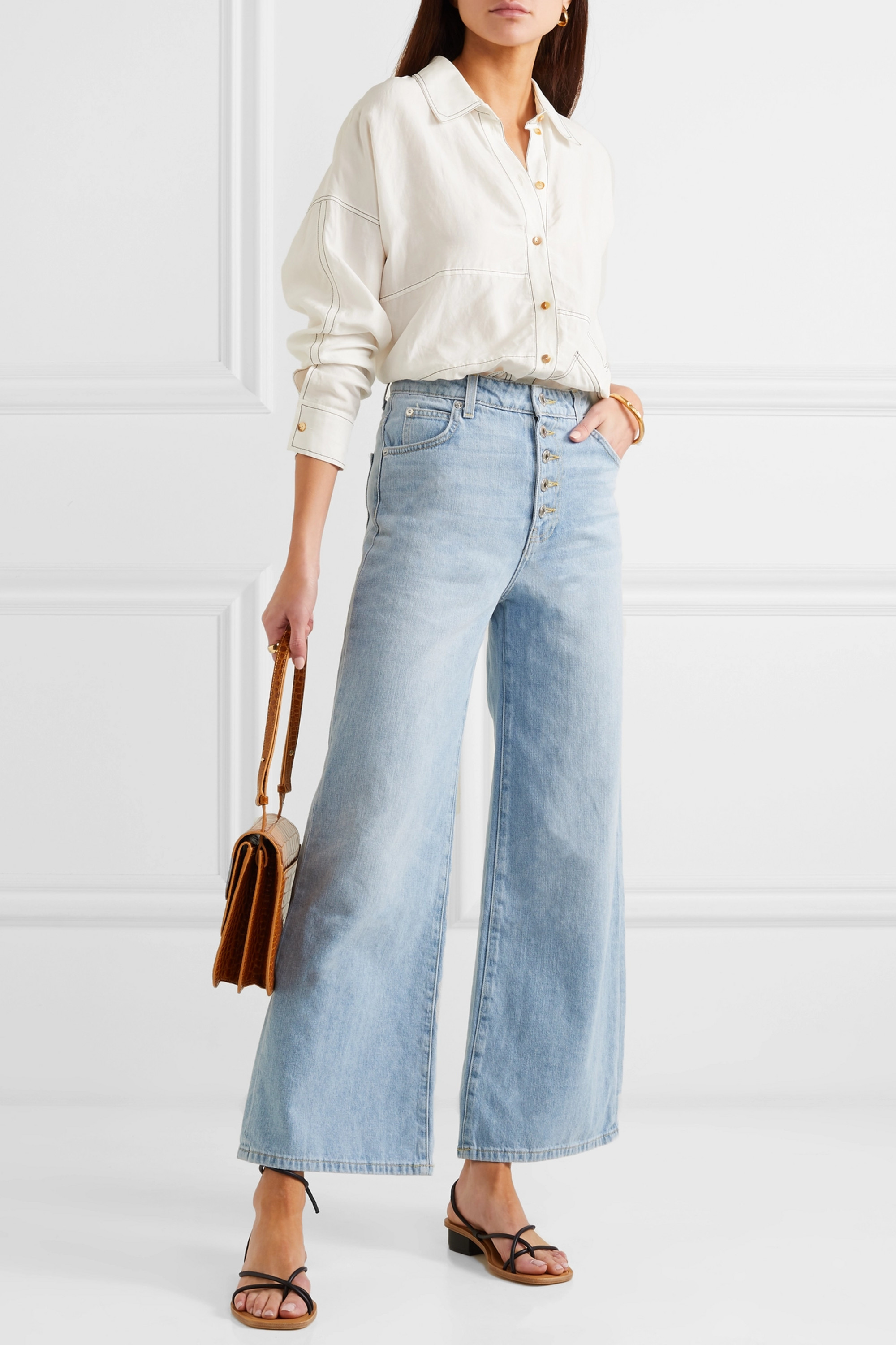EVE Denim Charlotte cropped high-rise wide-leg jeans