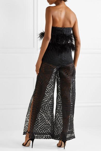 a65ea15e28 SemSem. Feather and sequin-embellished devoré-organza jumpsuit. £1