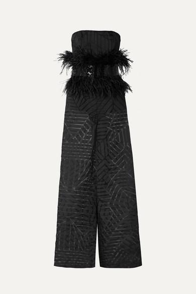 58af3fbab4 SemSem. Feather and sequin-embellished devoré-organza jumpsuit