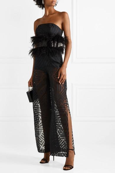 6609cddc82 Feather and sequin-embellished devoré-organza jumpsuit