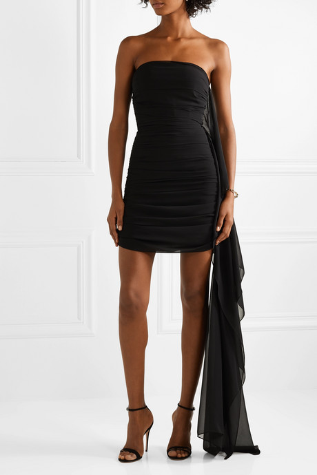 Strapless draped ruched chiffon mini dress