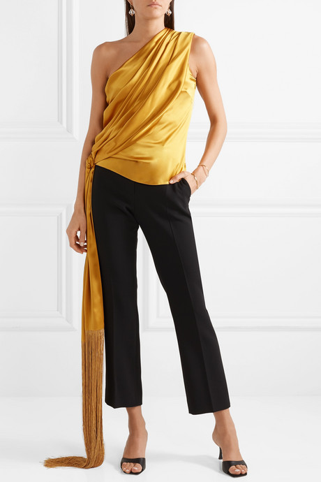 One-shoulder fringed draped silk-satin top