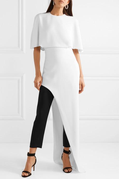 Cape-effect asymmetric crepe tunic