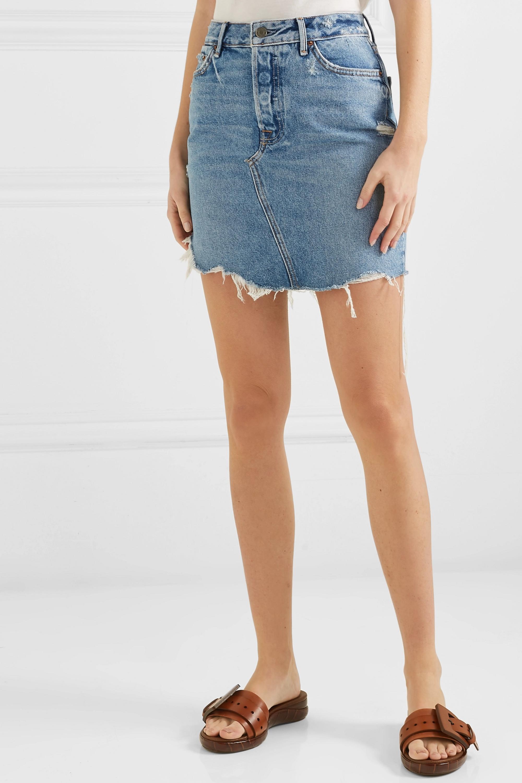 GRLFRND Rhoda distressed denim mini skirt