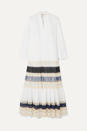 Lace-trimmed tiered cotton-poplin maxi dress
