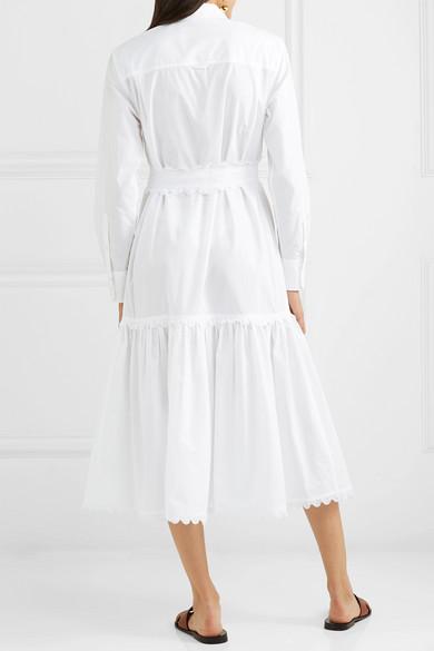 Tory Burch Dress Belted scalloped cotton-poplin midi dress