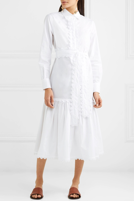 Tory Burch Belted scalloped cotton-poplin midi dress