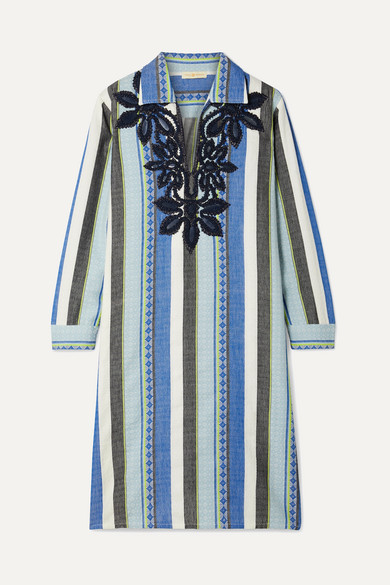 Tory Burch Cottons Embroidered striped cotton-jacquard dress