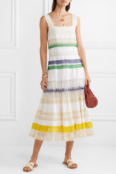 Tory Burch Dress Lace-trimmed cotton-voile midi dress