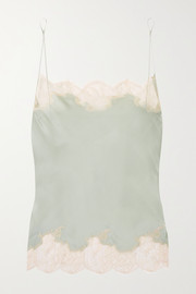 Anna Chantilly lace-trimmed silk-satin camisole