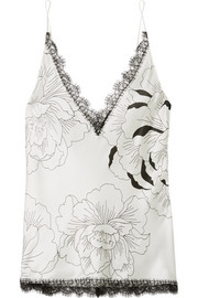 Anna Chantilly lace-trimmed floral-print silk-satin camisole