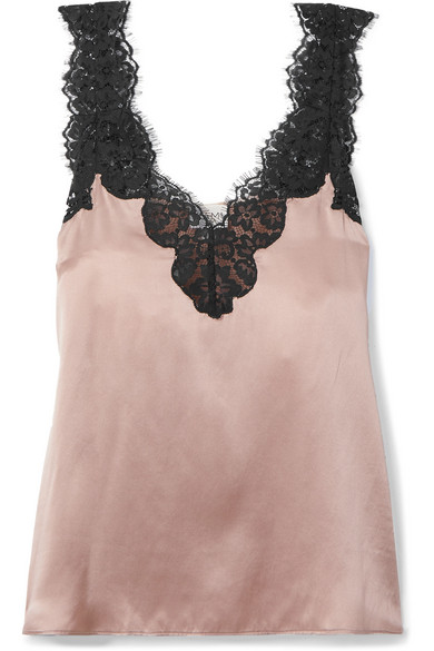 Cami Nyc Tops The Leia lace-trimmed silk-charmeuse camisole