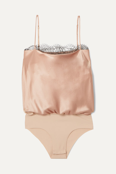 Cami Nyc Suits The Romy lace-trimmed stretch-silk charmeuse and jersey bodysuit