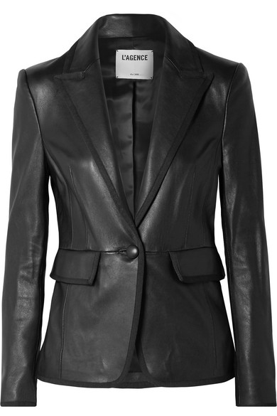 L'AGENCE | L'Agence - Paulie Grosgrain-trimmed Leather Blazer - Black | Goxip