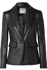 L'Agence Paulie grosgrain-trimmed leather blazer