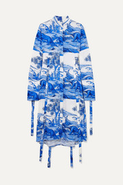 Ellery Zenith tie-detailed printed stretch-silk midi dress