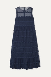 Abito rickrack-trimmed point d'esprit tulle midi dress