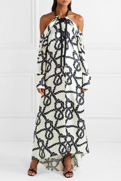Monse Dresses Rope-trimmed printed silk-twill halterneck gown