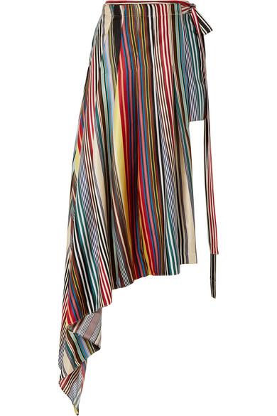 Monse Shorts Layered striped silk-twill shorts