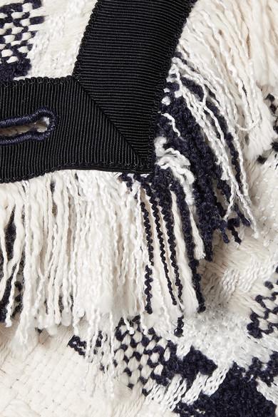 Monse Jackets Asymmetric fringed cotton-blend tweed jacket
