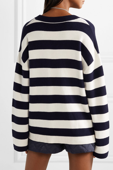 Monse Knits Oversized faux pearl-embellished striped knitted sweater