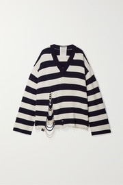 Oversized faux pearl-embellished striped knitted sweater