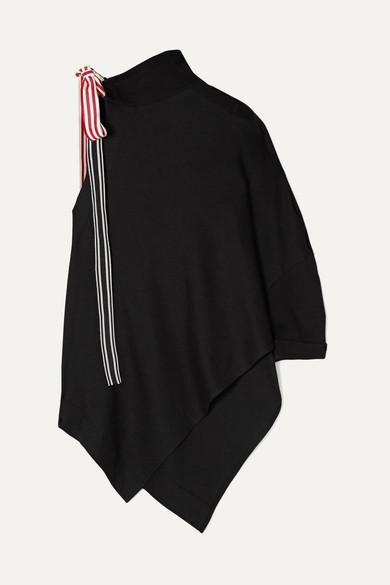 Monse Tops Asymmetric grosgrain-trimmed cotton and modal-blend jersey top
