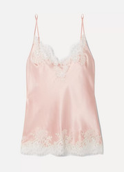 Hôtel Particulier Chantilly lace-trimmed silk-blend satin camisole