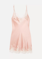 Hotel Particulier Chantilly lace-trimmed silk-blend satin chemise